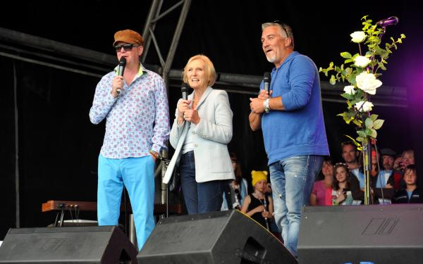 Chris Evans with Mary Berry and Paul Hollywood