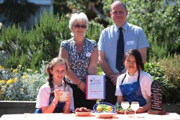 Mick Blake, from Sainsbury's, Jeanette Hill, from Compass Catering, and finalists Aimee Gilbert and Angele Gallein