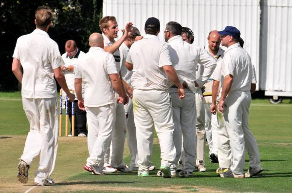 Luke Graham celebrates a wicket with Andover teammates