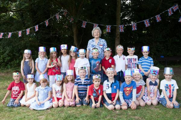 Maud Hobbs at her surprise party at North Waltham Primary School