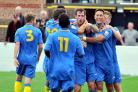 Basingstoke Town celebrate another goal during what has been an outstanding season