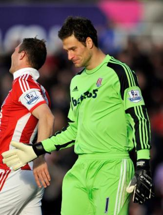 Asmir Begovic celebrates scoring against Saints