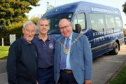 The Mayor of Basingstoke and Deane Cllr Roger Gardiner, right, with Dial-a-Ride service manager Stan Emery and volunteer driver John McKay