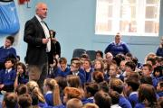 Michael Keegan addresses pupils at The Vyne Community School