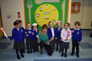 Katy with children from Kempshott Infant School