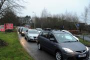 Traffic backs up in Rooksdown due to the closure of The Avenue