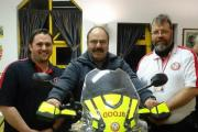 Romsey Bloodrunners Andy Slocombe, Paul Slocombe and Danny Brown with their new Triumph Tiger