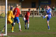 Justine Mosley fires home one of her goals in Basingstoke's big win over Aldershot
