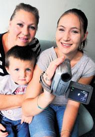 Sue Ridgers (left) with her daughter Stacey Keep and grandson Joshua Keep, three. Both women claim to have recorded strange lights over Basingstoke