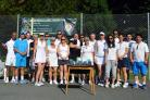 The players pose for the cameras ahead of the doubles event at the Waverley Lawn tennis Club.