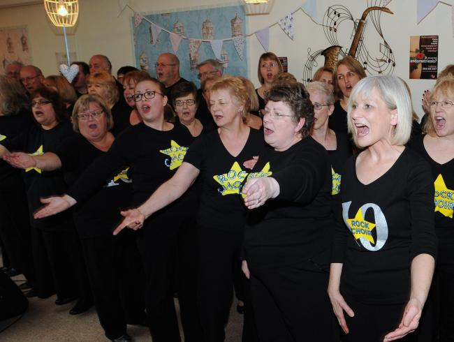 Basingstoke Rock Choir performing at a charity event in The Tea Bar earlier this year for Endometriosis UK