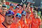 England Under 19s' latest match-winning 'selfie' after beating Zimbabwe to qualify for the quarter-finals. Mason Crane (centre) and captain Brad Taylor (far left)