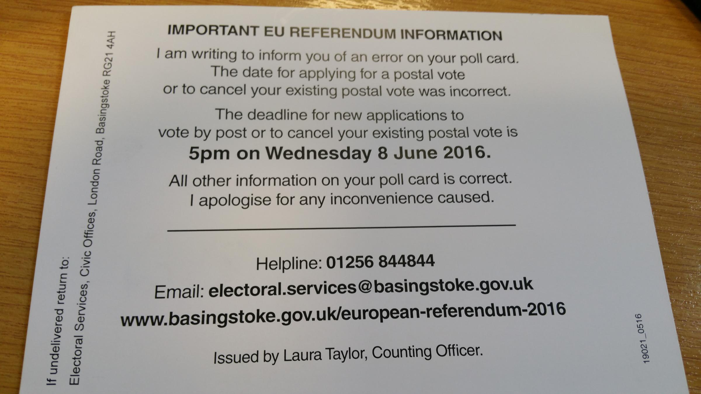 The postcard sent to every resident in the borough