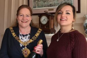 Mayor of Winchester Jane Rutter and Eryn White