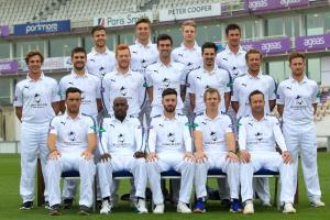 Hampshire 2017. Back: Lewis McManus, Asher Hart, Brad Taylor, Will Smith. Middle: Brad Wheal, Rilee Rossouw, Ryan Stevenson, Reece Topley, Chris Wood, Gareth Berg, Liam Dawson. Front: Kyle Abbott, Michael Carberry, James Vince, Jimmy Adams, Sean Ervine.