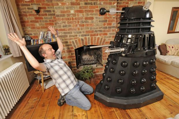Doctor Who super-fan Mike Stevens with his Dalek prize