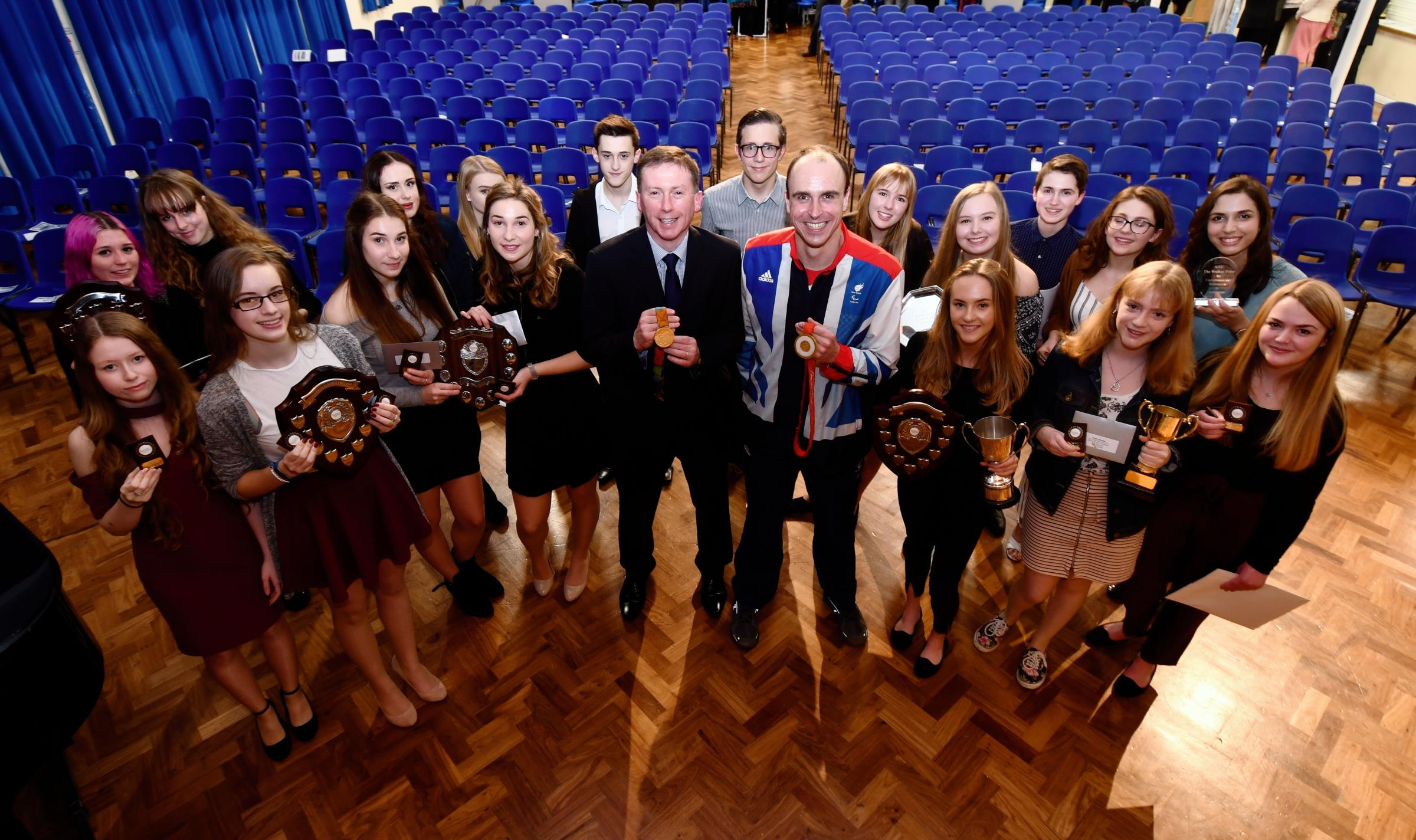 Aldworth School, Basingstoke.2017 Prize Presentation Evening.Special guest Graham Edmunds who has competed in three Paralympic Games, winning two gold medals in world record times.Photograph By: Sean Dillow.www.TheBigCheesePhotography.co.uk