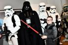 Charlie Smerdon, nine, from Popley with Stormtroopers and Darth Vader. Photo: Sean Dillow
