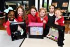 Marnel Junior school year 4 pupils build theatres after visiting the Anvil Theatre and watching the Christmas panto Peter Pan.Pupils (L-R): Micaela Melle (9), Millie Morrison (8), Cara Mallinson (9), Layla Green (8), Layla Grise (8), and Brooke Carter (8)