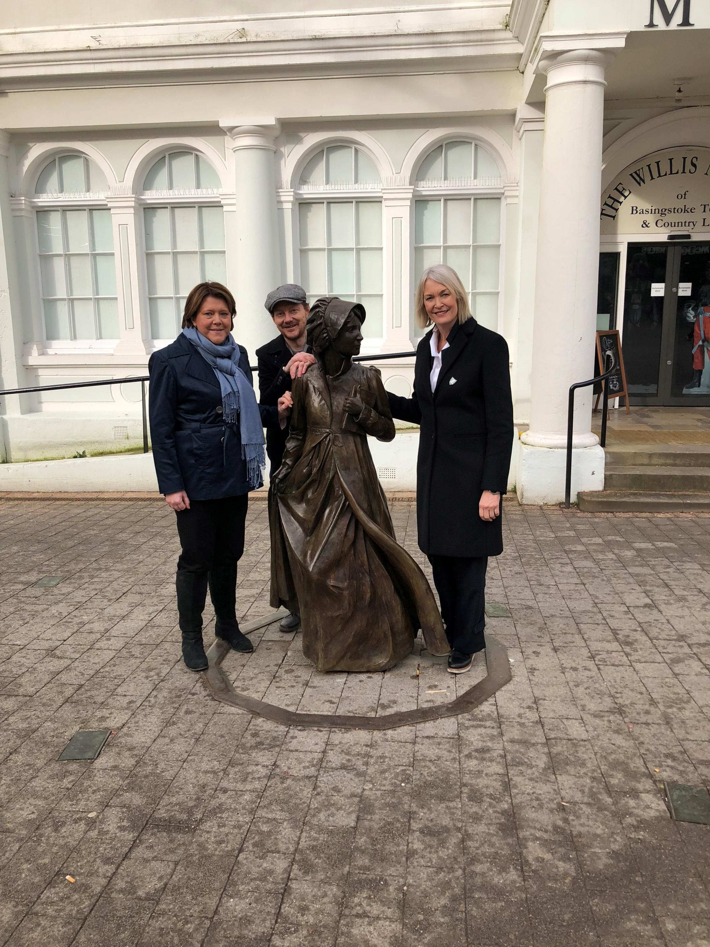 Maria Miller and Margot James with the statue