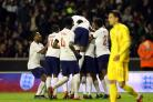 England Under-21s celebrate Jake Clarke-Salter's goal against Romania. (Nigel French/PA)