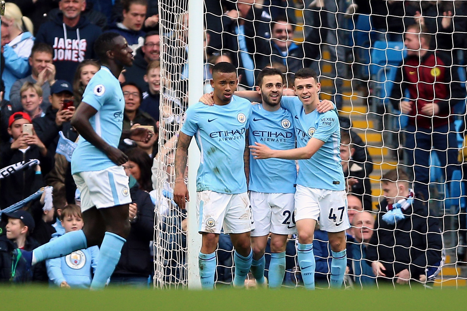 Gabriel Jesus celebrates scoring Manchester City's fifth goal (Nigel French/PA)