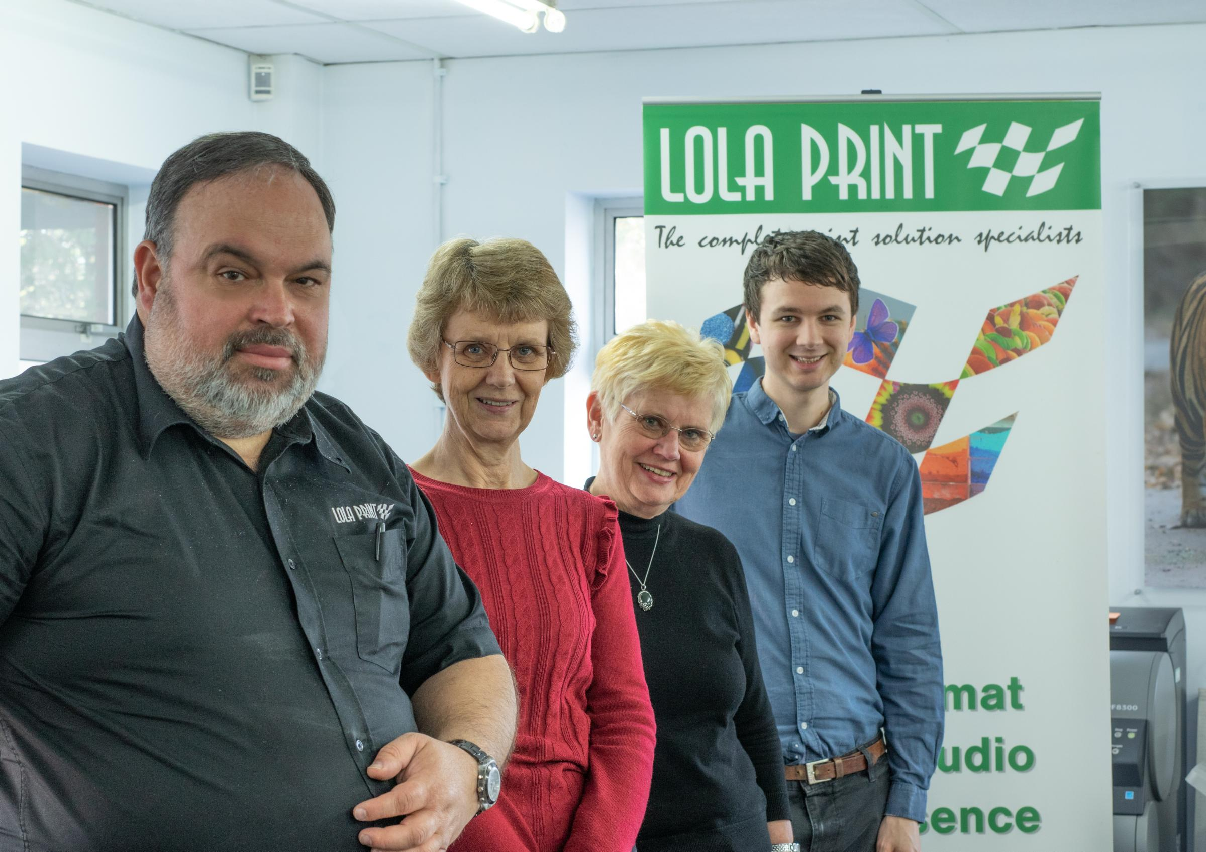 The team at Lola Print, from left,Tony da Franca, design director; Sue Foster, office manager; Anna Croucher, managing director; and Stewart Syckelmore production