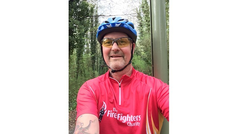 Tony Jupp, taking part in the London Night Rider for the Firefighters Charity