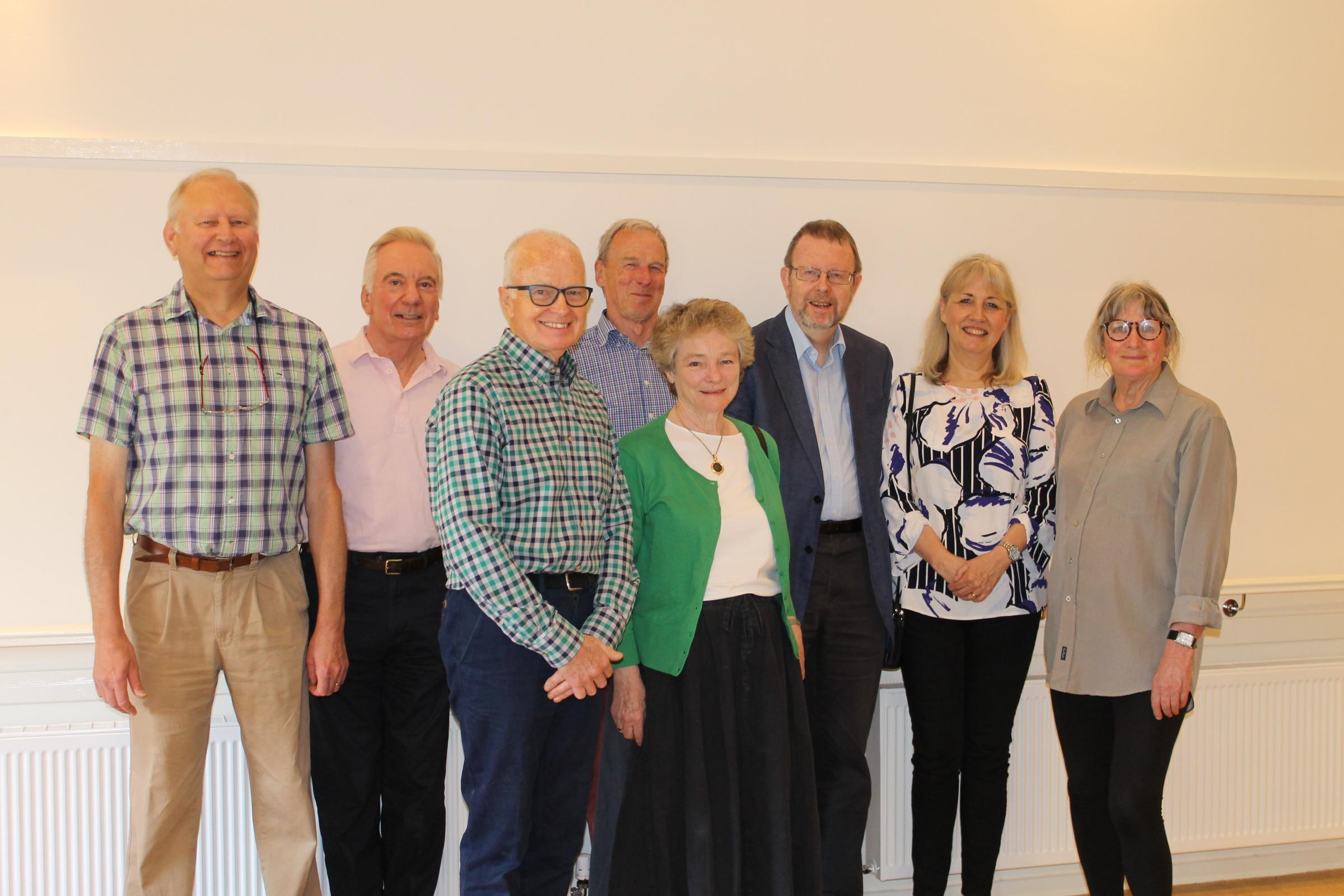 Trustees and councillors at the opening. Back, from left, Richard Medlin, John Trueman, Stafford Napier, Cllr Rob Golding, Cllr Diane Taylor, Lyn Hardy, and, front, Jeffrey Northam and Cllr Anna McNair-Scott