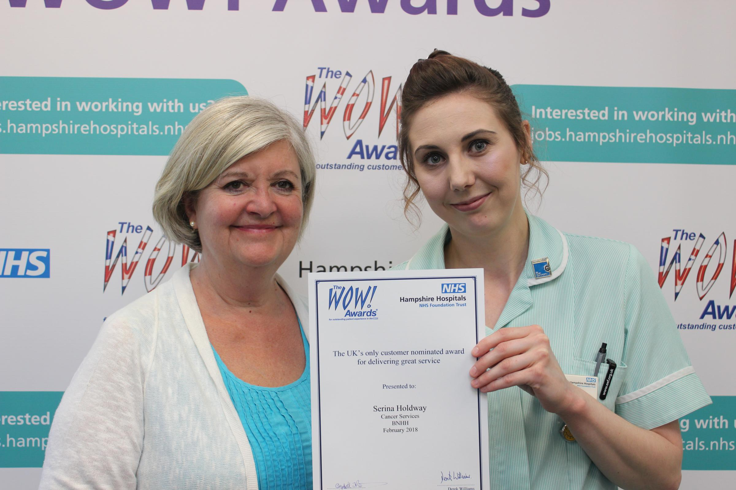 Elizabeth Padmore, chairman of Hampshire Hospitals NHS Foundation Trust and Serina Holdway