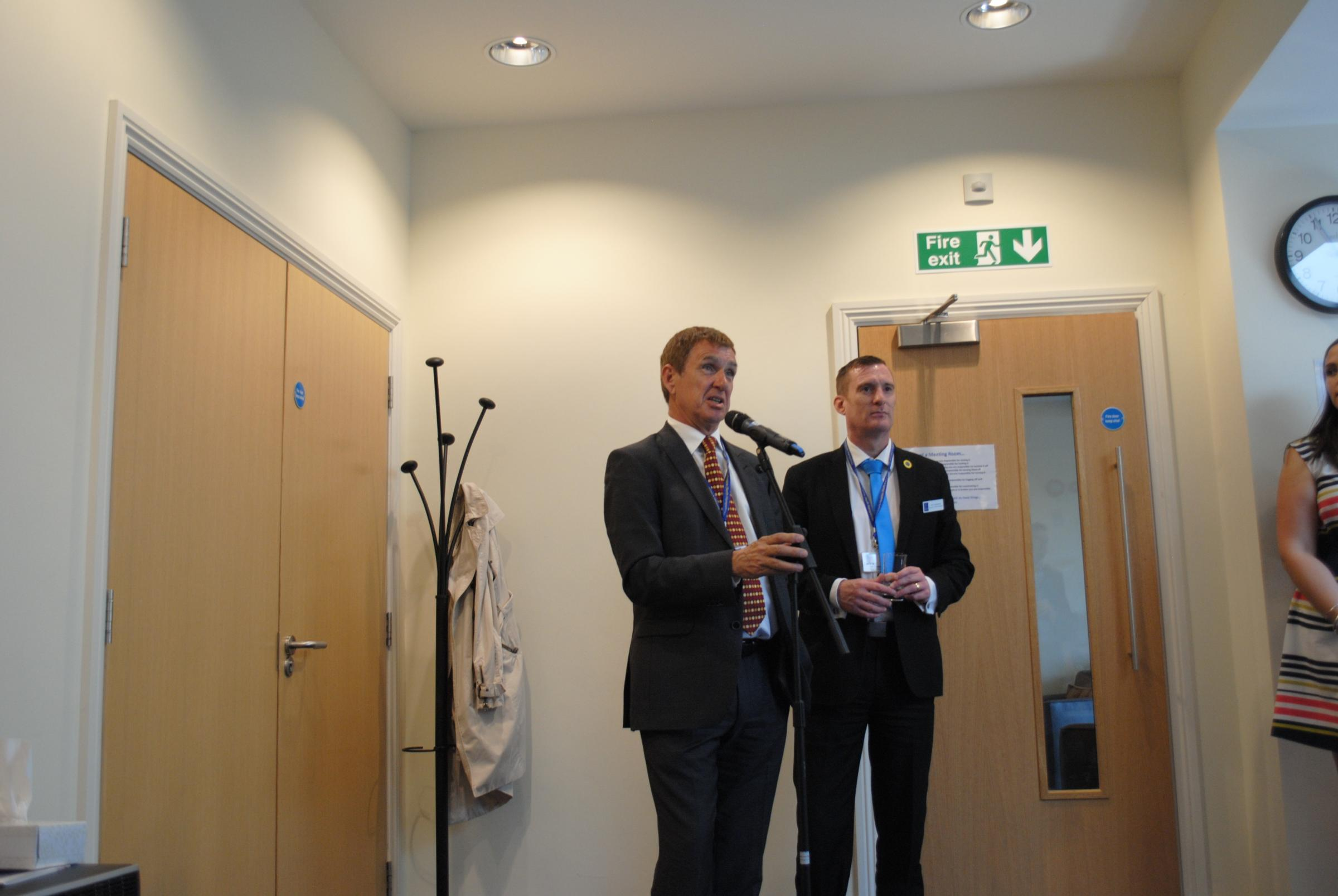 Hospice chairman Andrew Finney speaks at the event with Iain Cameron, deputy chief executive