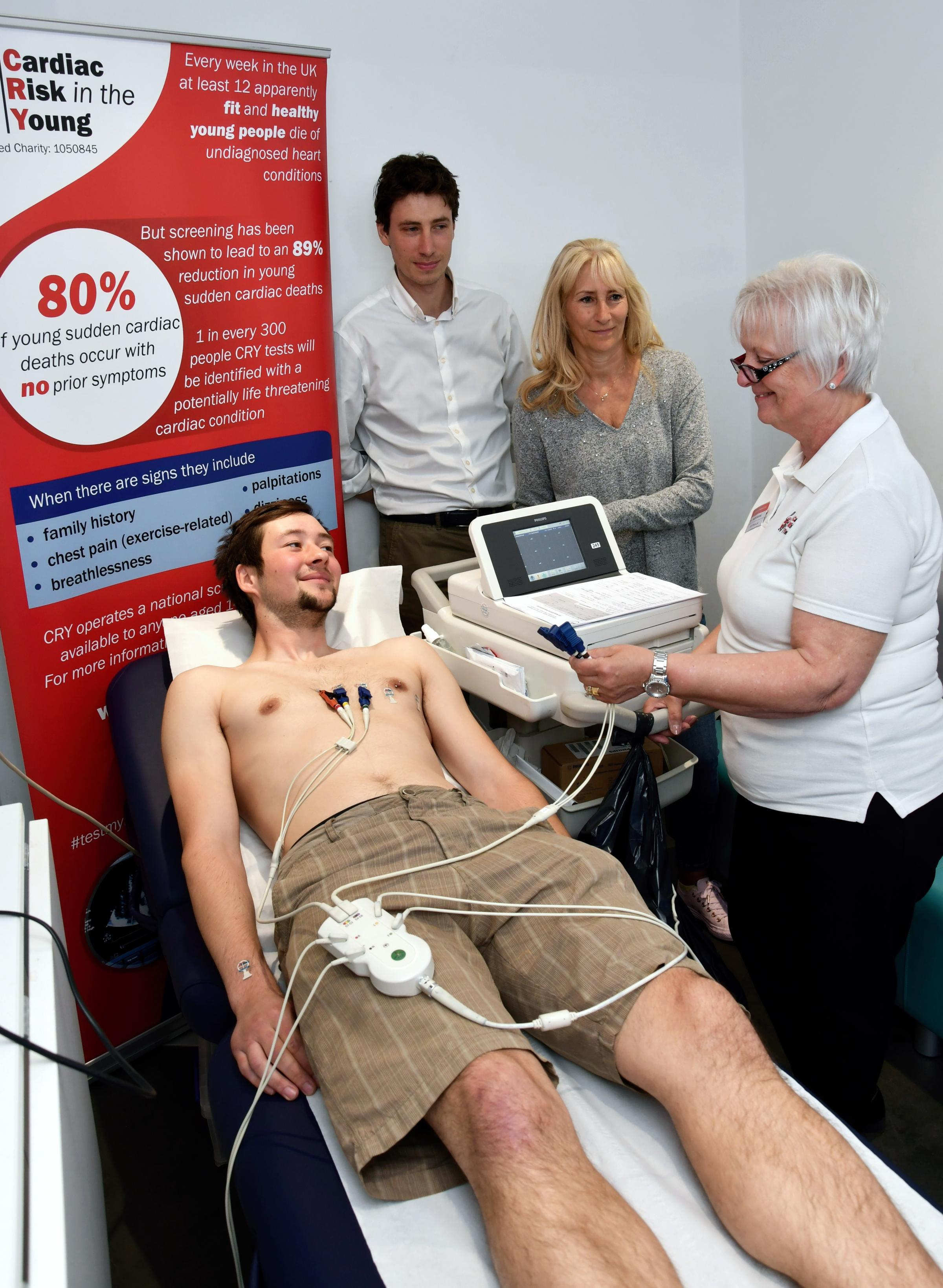 Cardiac Risk in the Young (CRY) testing day at Tadley Community Centre.