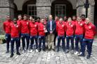 The England Under-20s team meet the Duke of Cambridge at a Kensington Palace reception