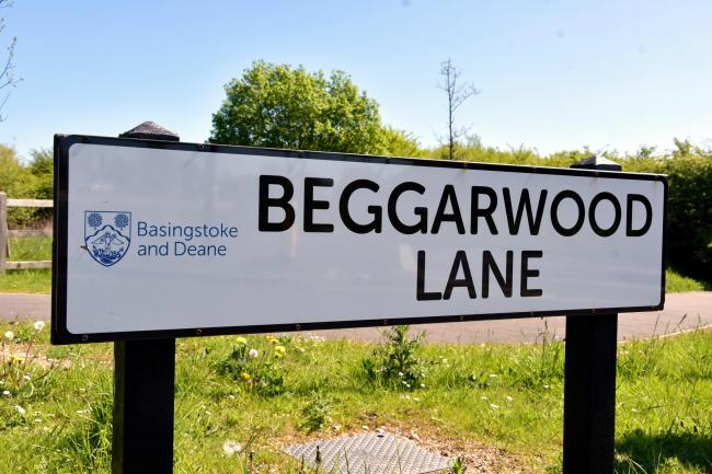 BEGGARWOOD, Basingstoke..Beggarwood Lane sign..Beggarwood Park sign...Photograph By: Sean Dillow..www.TheBigCheesePhotography.co.uk.
