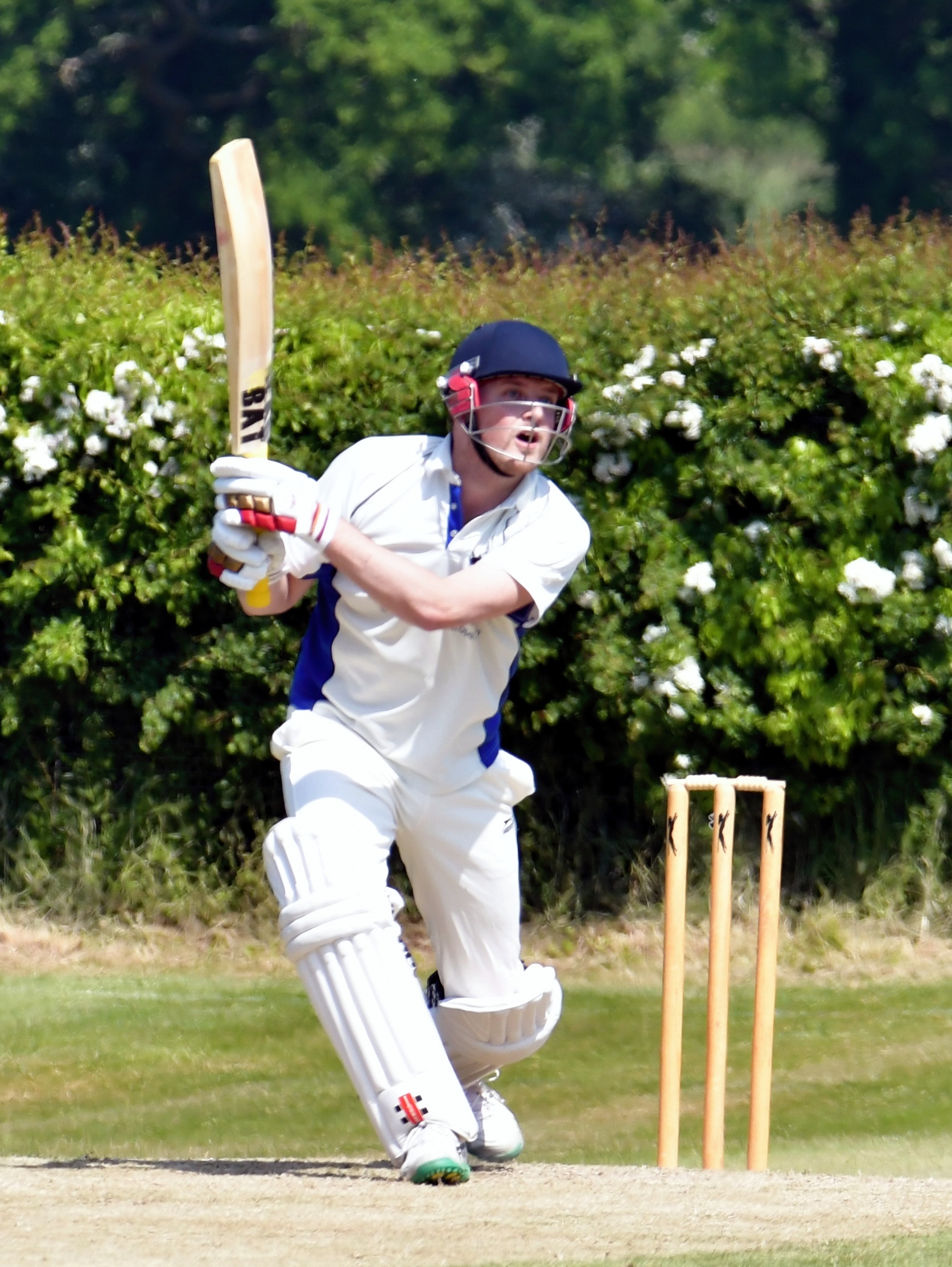 Kingsclere's Ross Andrews was handle with the ball taking 6-17