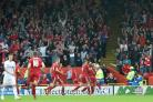 Aberdeen's Gary Mackay-Steven, right, celebrates scoring from the spot (Ian Rutherford/PA)