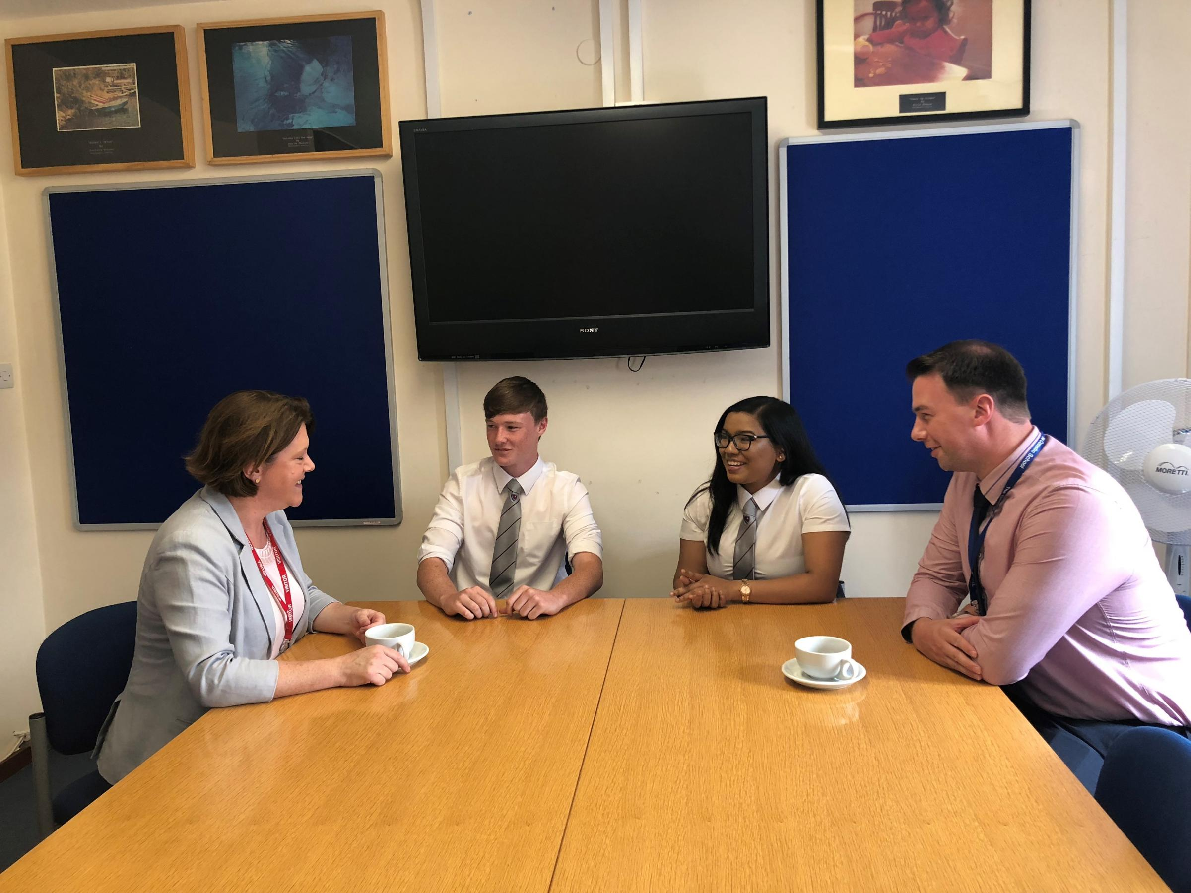 Maria Miller MP meeting with Costello School leaders