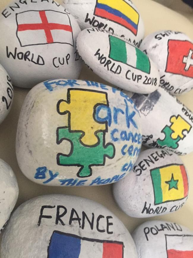 Some of the World Cup 'Basingstones' that were placed at locations in and around Basingstoke.
