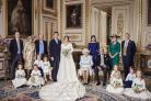 (left to right) Back row: Mr Thomas Brooksbank; Mrs Nicola Brooksbank; Mr George Brooksbank; Her Royal Highness Princess Beatrice of York; Sarah, Duchess of York; His Royal Highness The Duke of York. Middle row: His Royal Highness Prince George of Cambrid