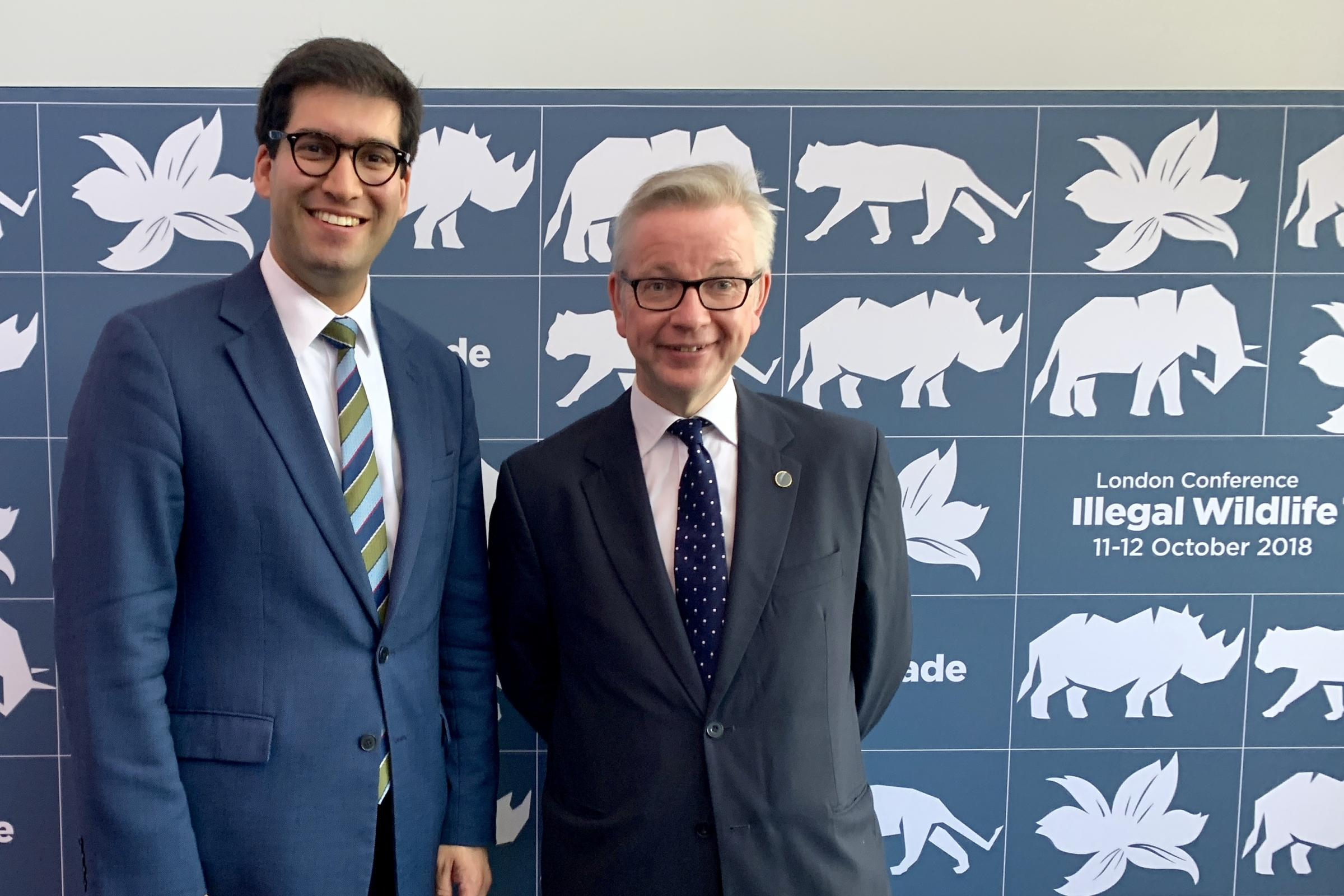 Ranil Jayawardena MP (left) with the Secretary of State for Environment, Food and Rural Affairs, the Rt Hon Michael Gove MP, at the 2018 Illegal Wildlife Conference.