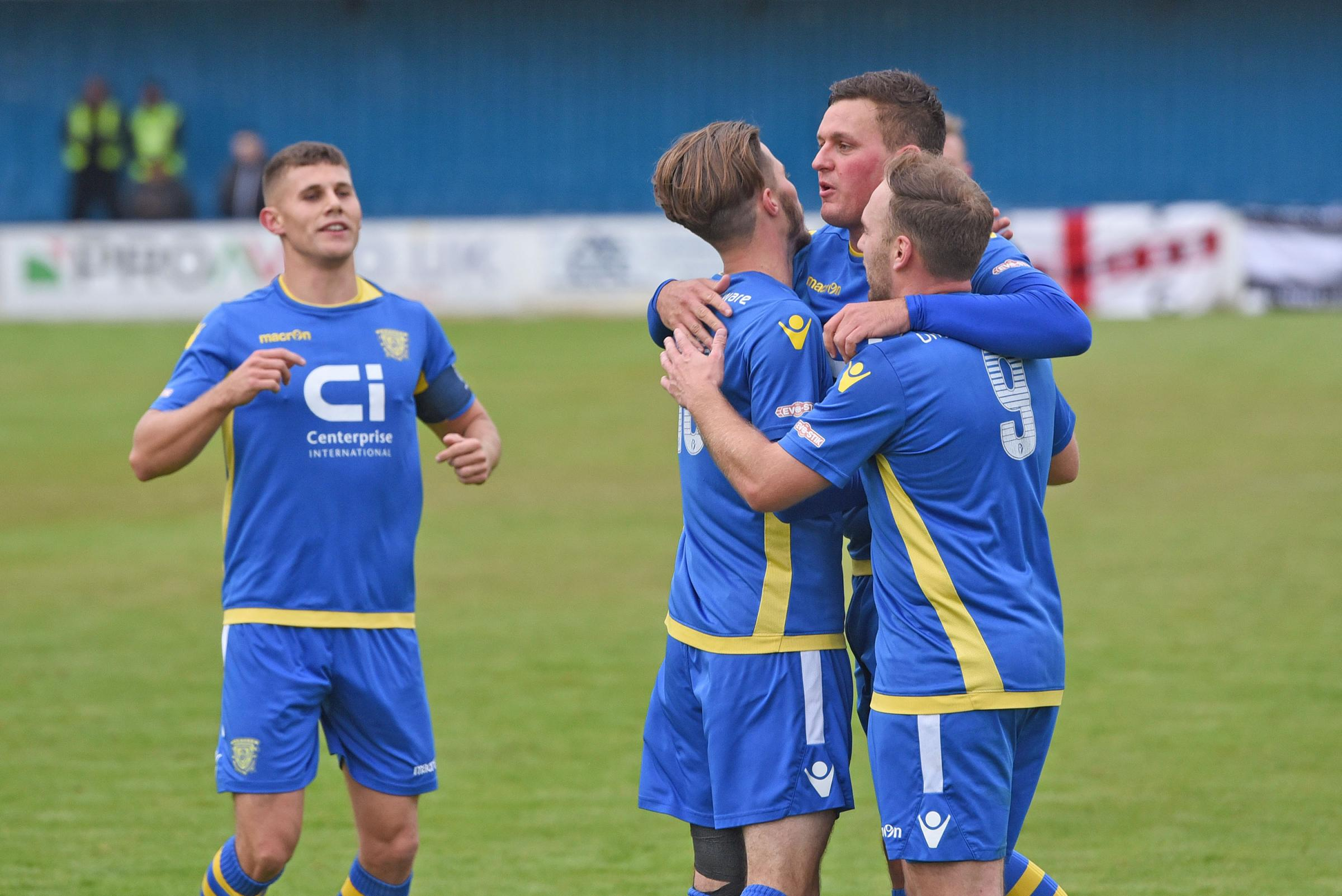 Ben Wright after scoring against Wimborne