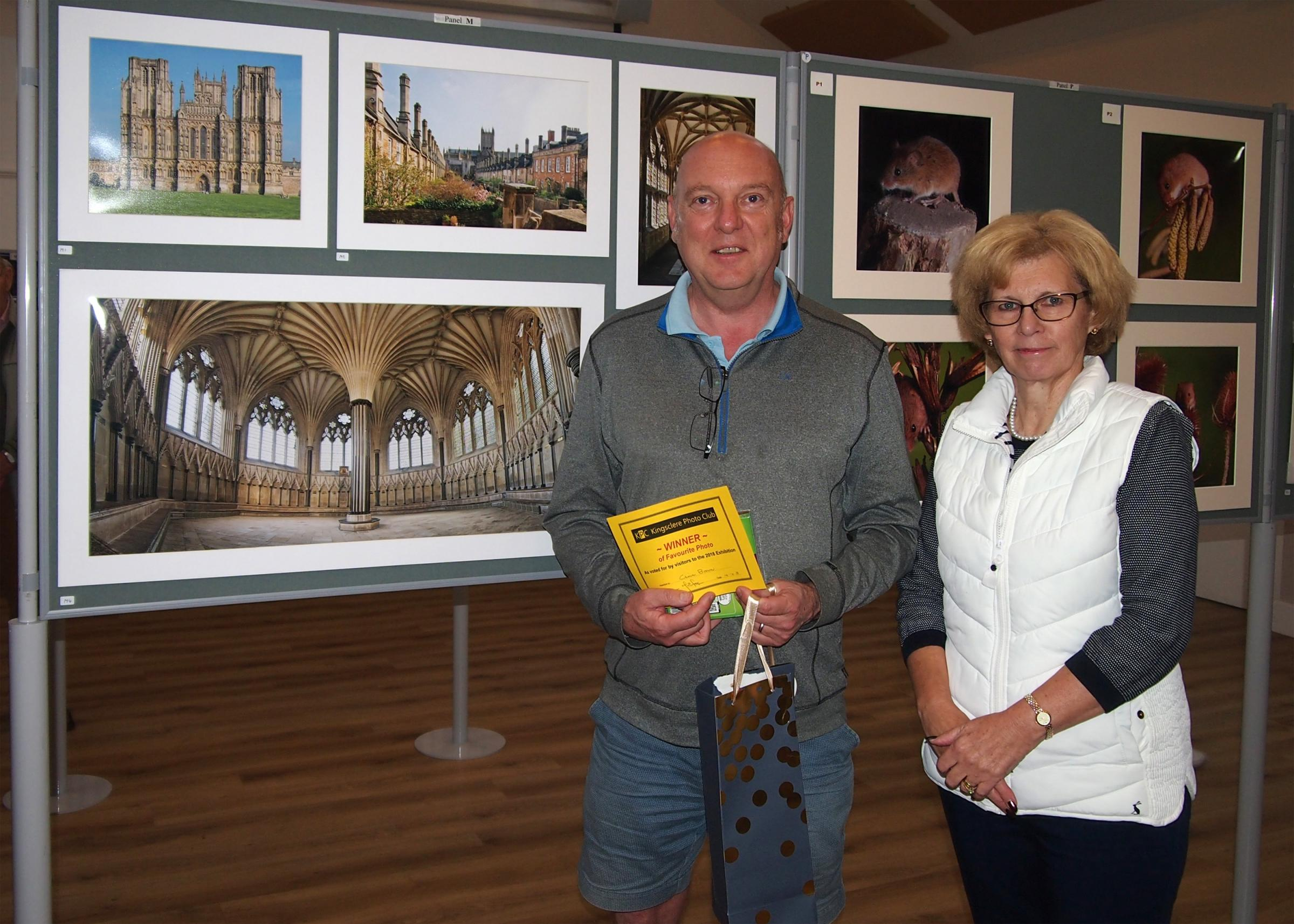 Chris Brown with his winning photo and club chairman Mary Ferguson