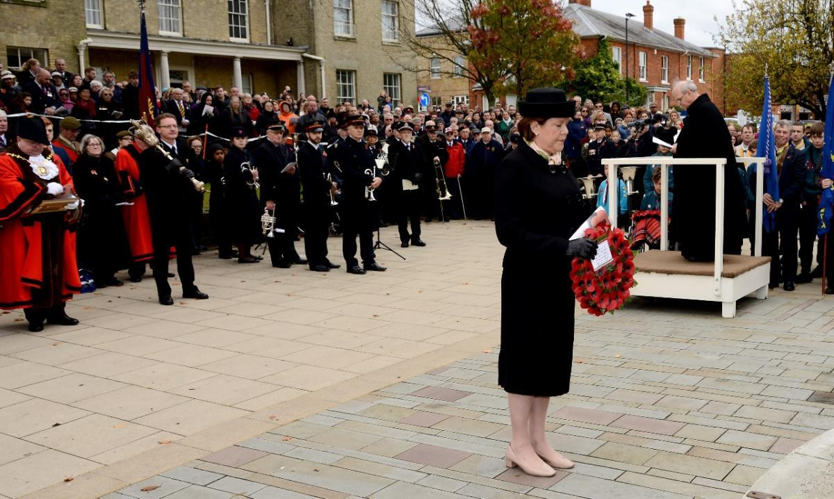Maria Miller at last year's Remembrance Sunday event in Basingstoke. Image: Kevin Poolman