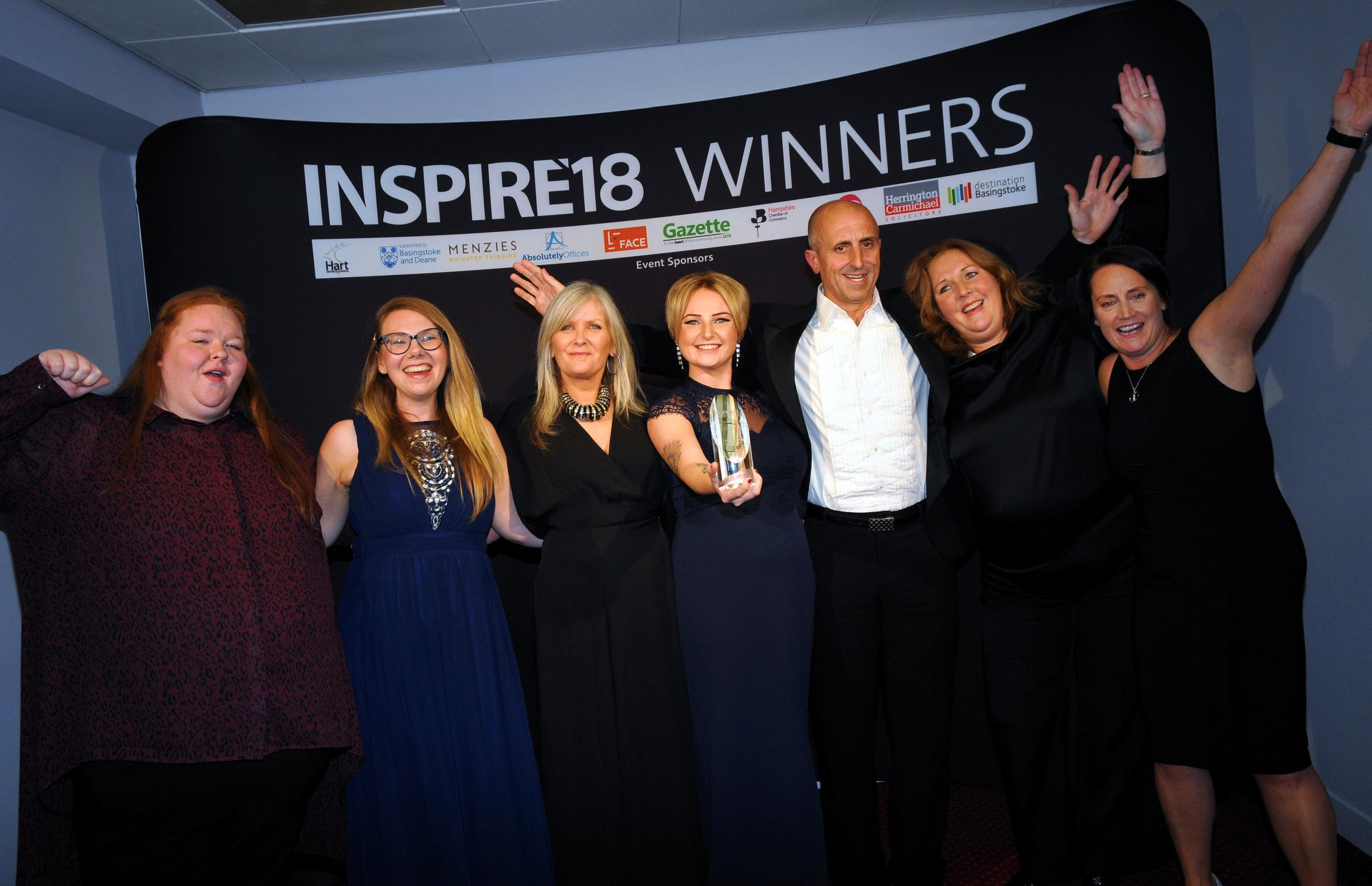 Woodlands and Hillbrow win Family Business of the Year Award...Inspire18 Business Awards at the Hampshire Court Hotel..Photography by Sarah Gaunt takem 22/11/18.