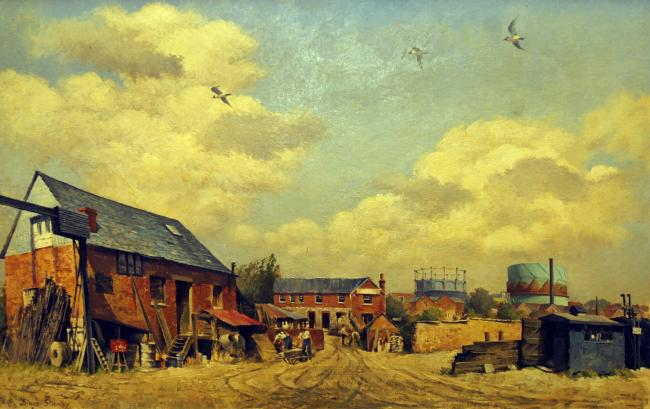 Mussellwhite Yard, Basingstoke, one of Diana Stanley's paintings at The Willis Museum.