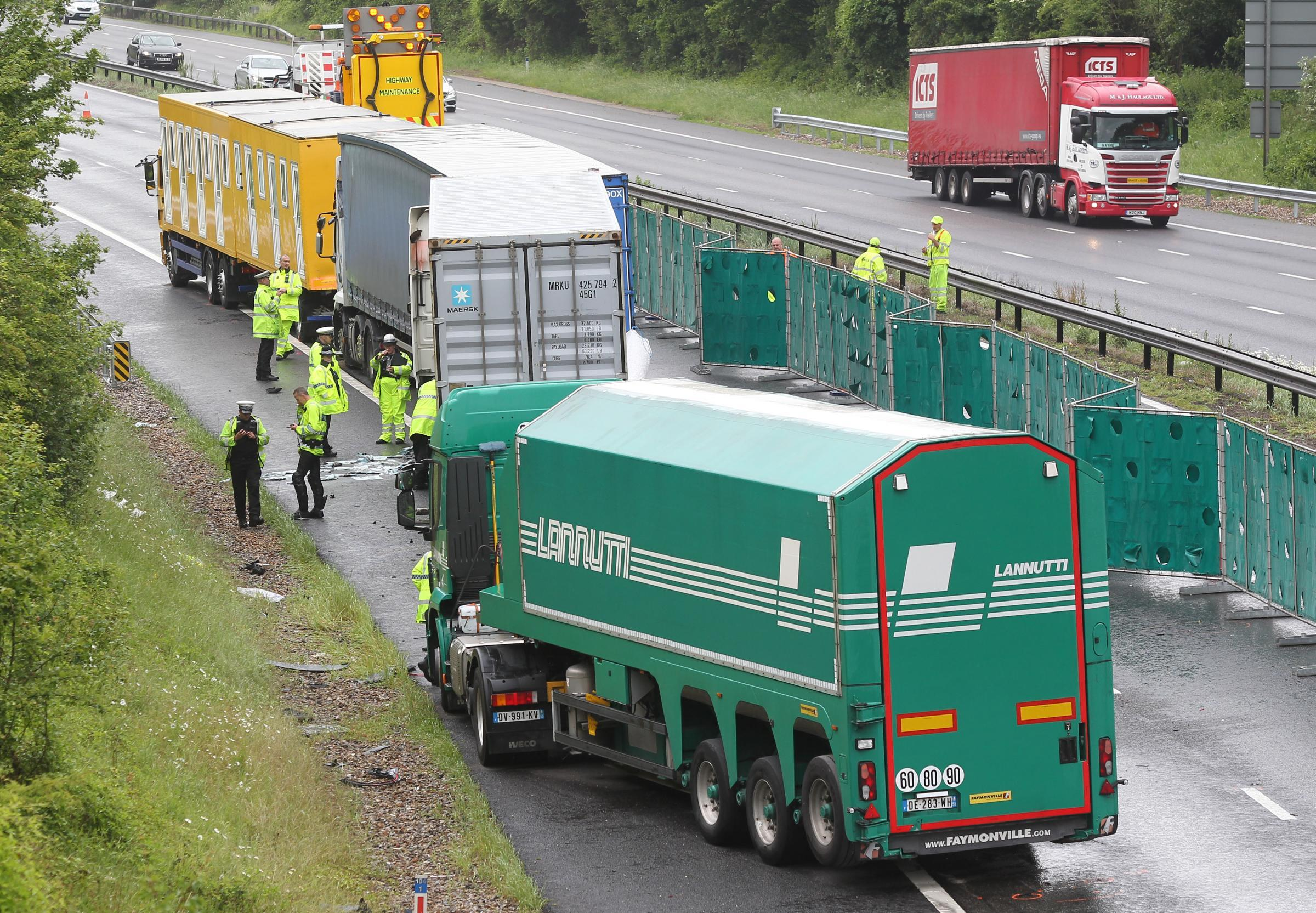 5 June 2017 - Photo Stuart Martin - RTI RTA Accident involving several lorries and a car on the M3 resulting in the motorway being closed.