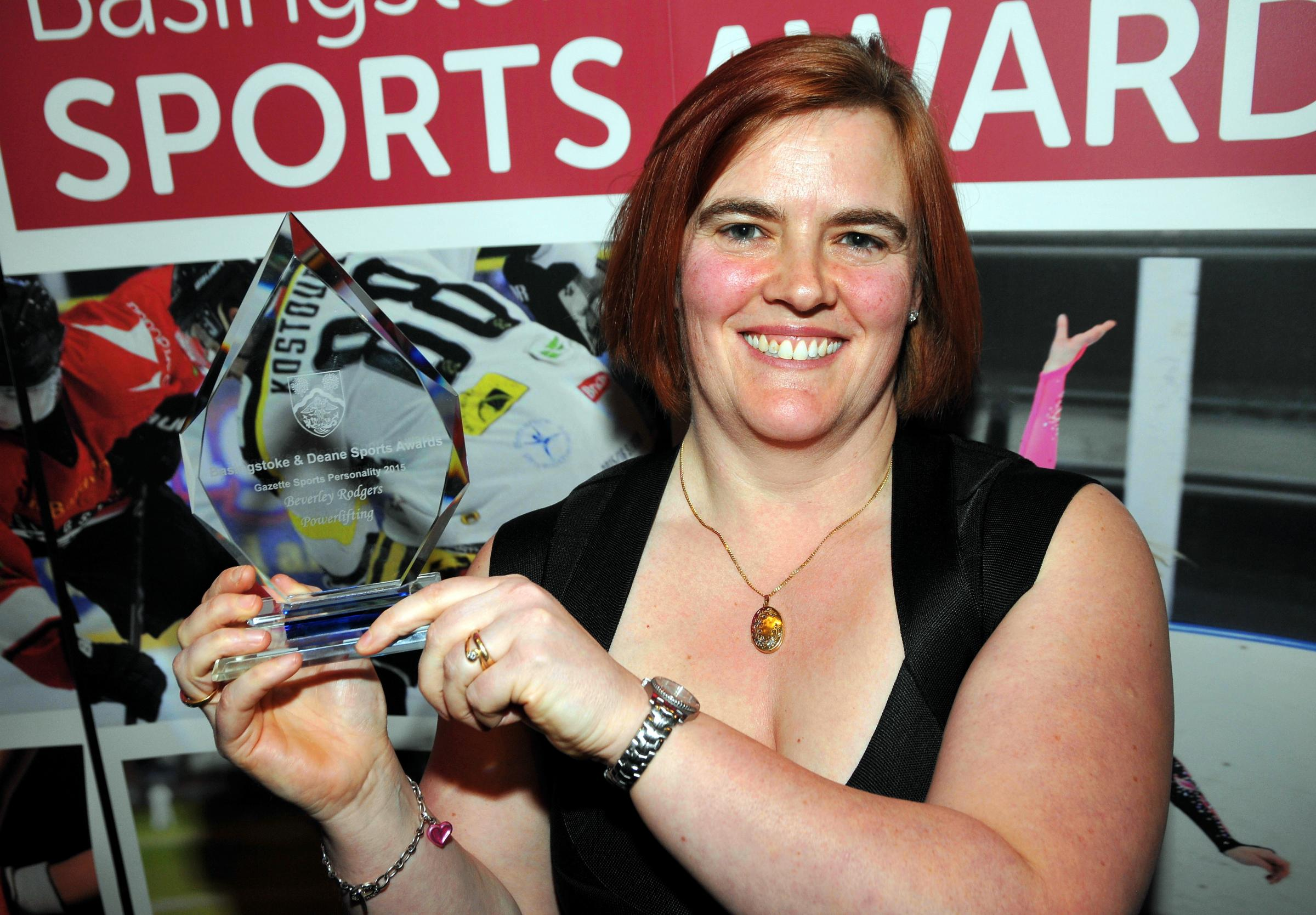 Beverley Rodgers wins the Gazette Sports Personality Award, presented by Gazette Sports Reporter Graham Merry.