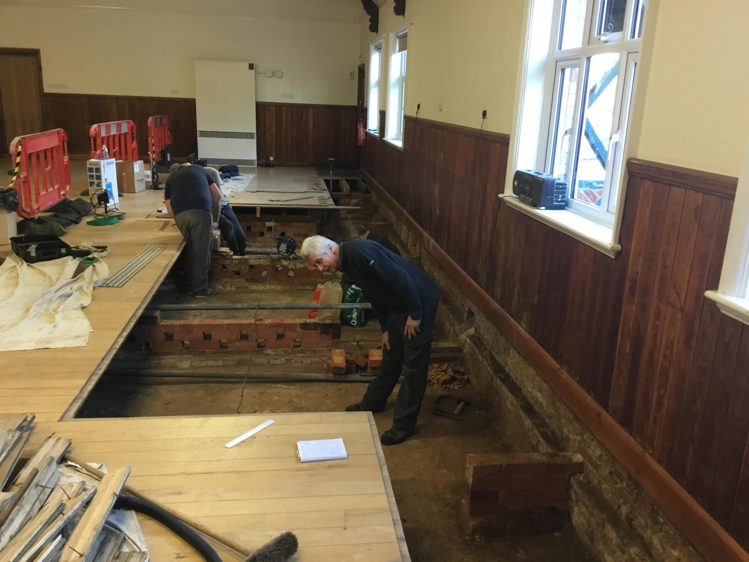 Damage to the village hall floor
