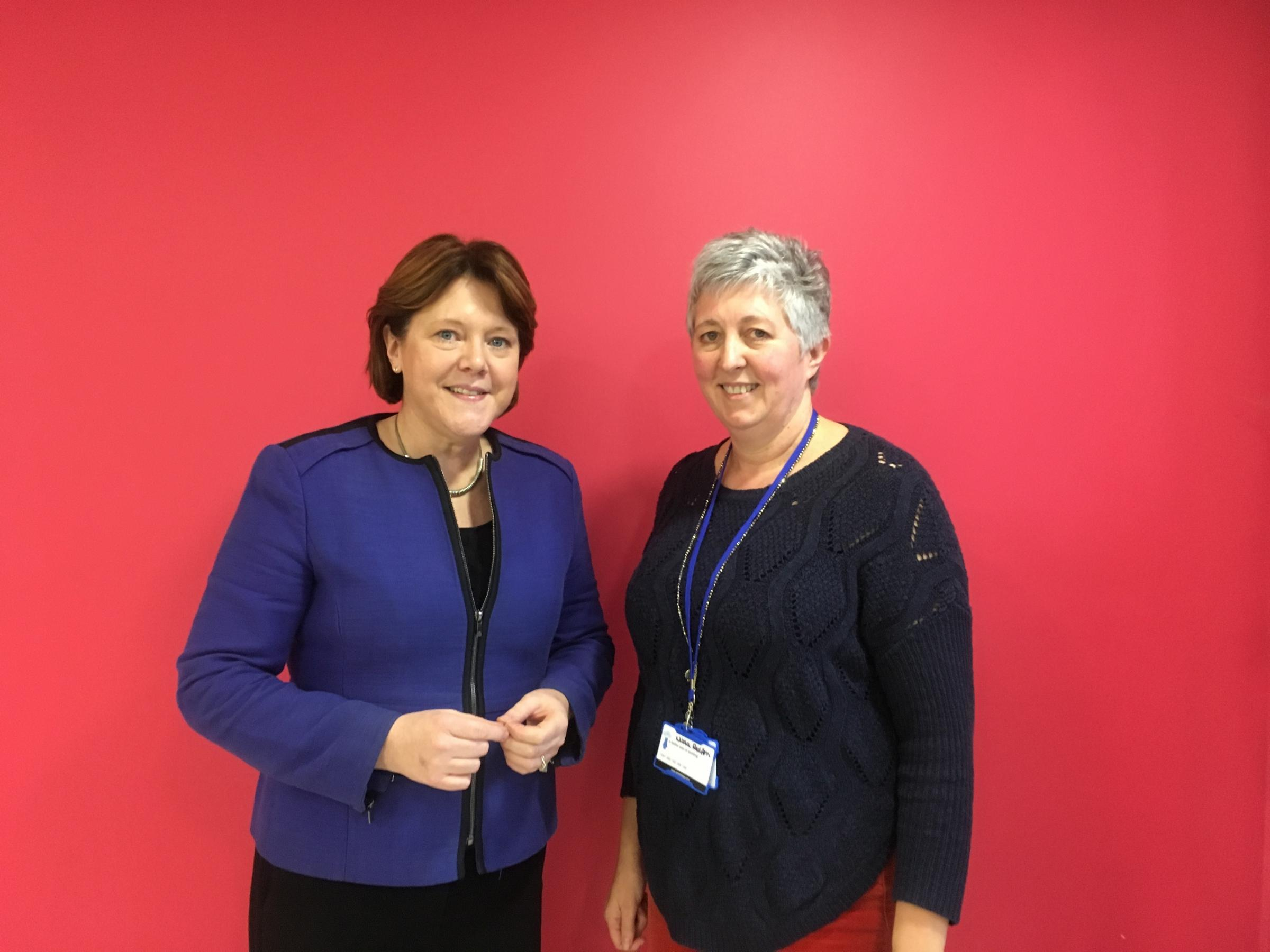 Maria Miller MP with Nicola Redfern