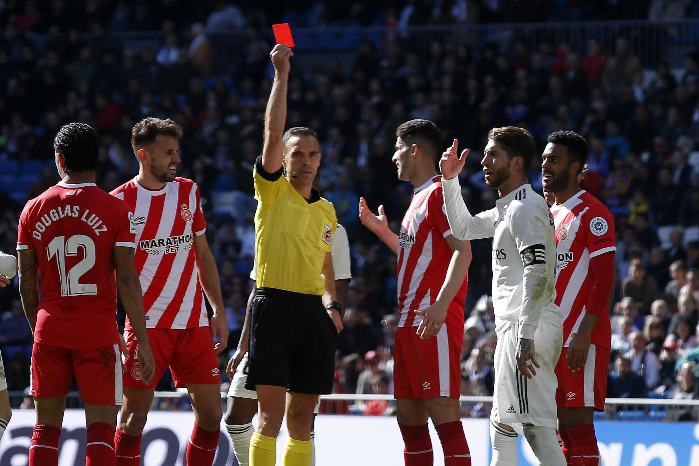 Sergio Ramos saw red as Real Madrid were beaten by Girona